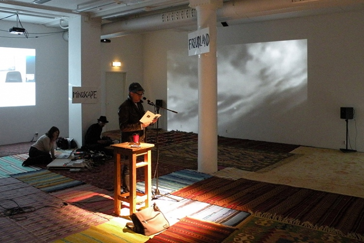 Installation with 106m2 carpets. Photo: rehearsal, TONIGHT :-) SYNSMASKINEN, ROM8, Bergen 2014.